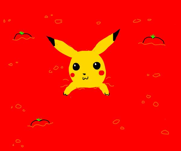 Pikachew taking a bath in ketchup