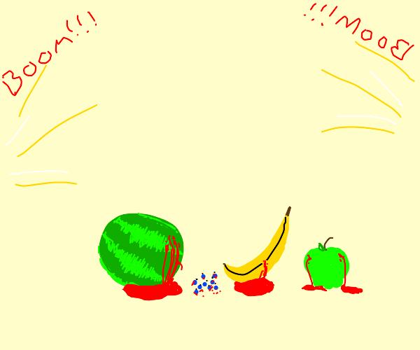 a noise so loud it makes fruits bleed