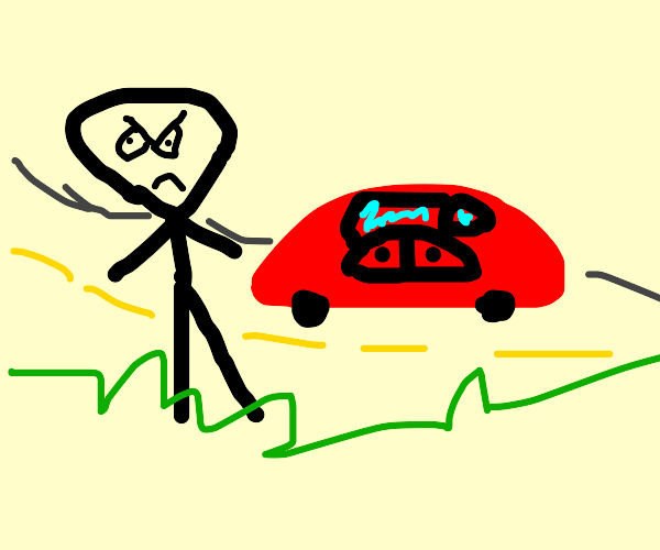 Angry man outside red car