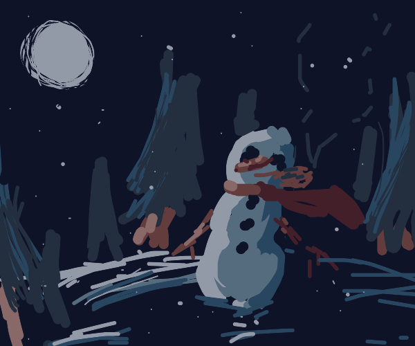 snowman in a dark forrest with a pipe