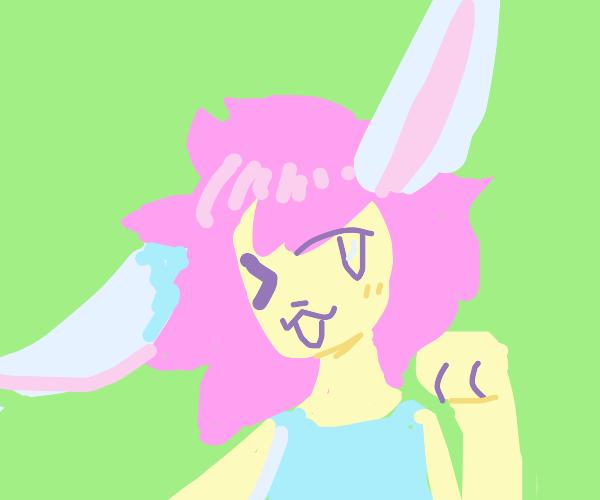 Pink Rabbit Anime Girl