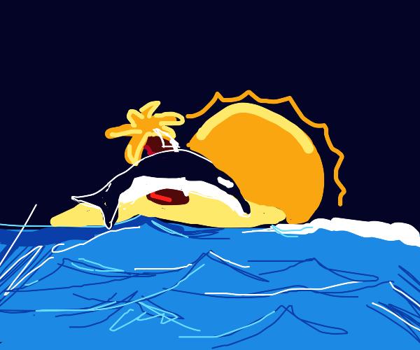 orca leaps across island