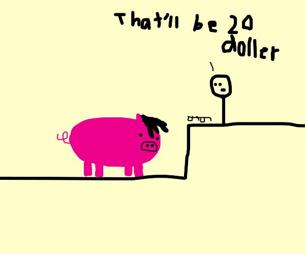 Emo pig gets glasses