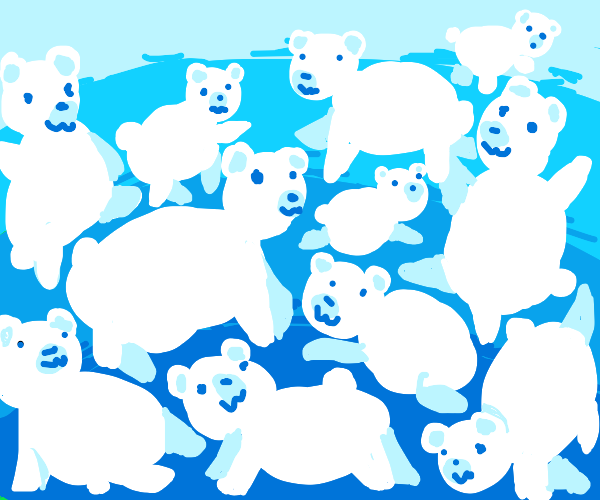 LoadsOfPolarBearsFilling The Screen In A Pile