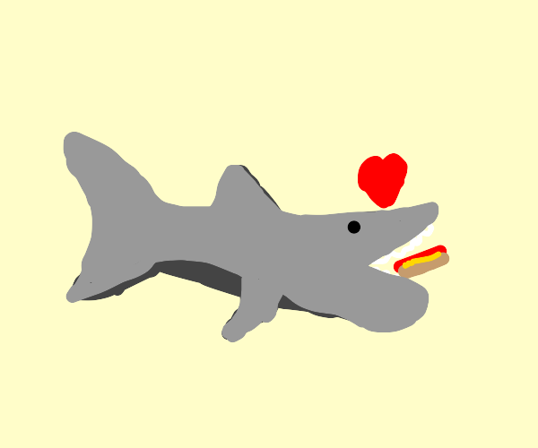 Shark enjoys a hotdog