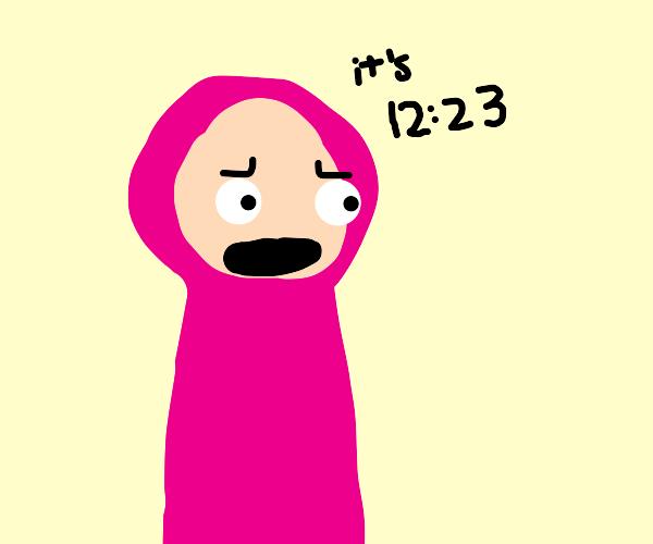 Pink man tells time