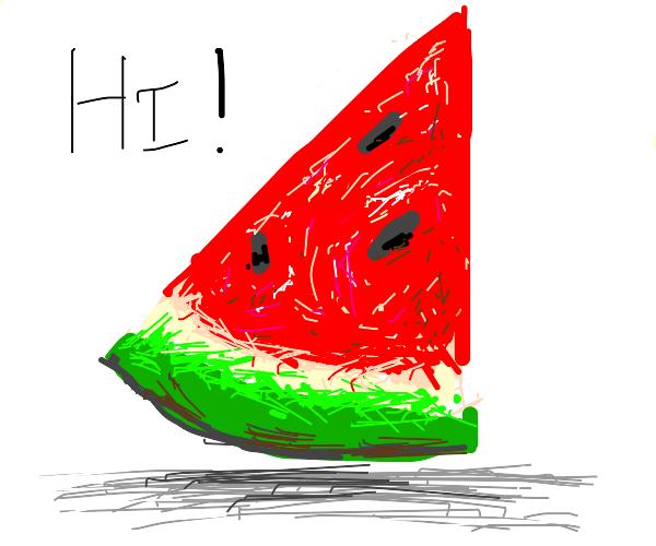 sliced watermelon says hi