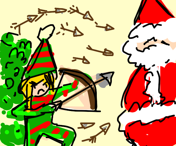 Elves shooting santa