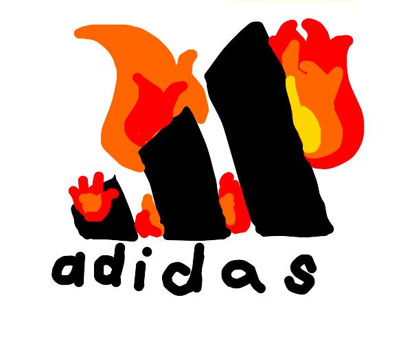 Adidas logo on fire