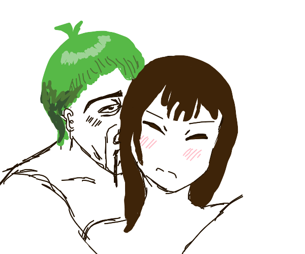 creepy bad guy tries to give girl a kiss