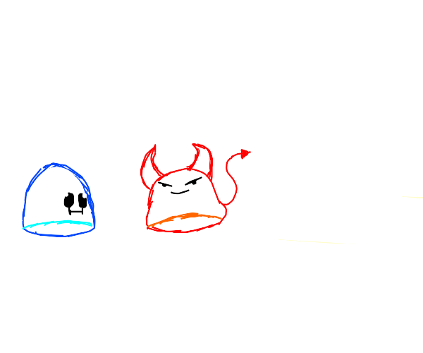 Blue blob thinks red blob is evil