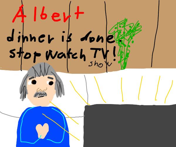 Albert Einstein watches the show