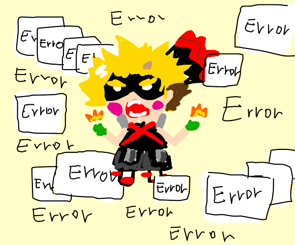 Anime boy surrounded by error notices