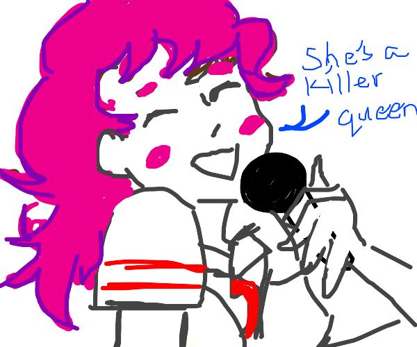 Anime school girl singing Queen songs