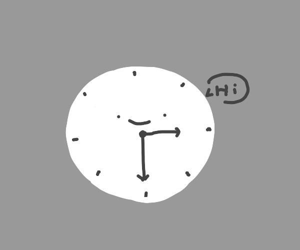 clock at 3:30 with face says hi