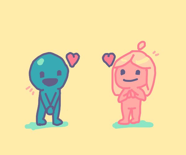 Blue man and pink lady find love