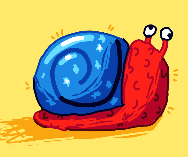 Bumpy red snail with a shiny blue shell