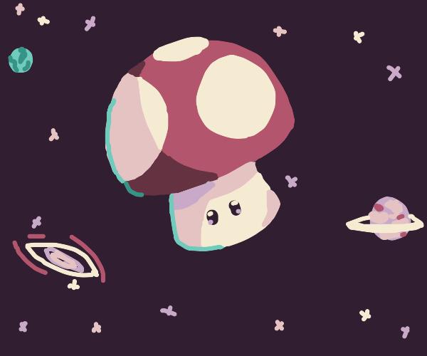 Mario super mushroom in space