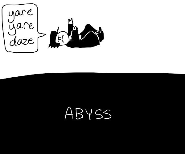 cartoon jotaro falls into the abbyss
