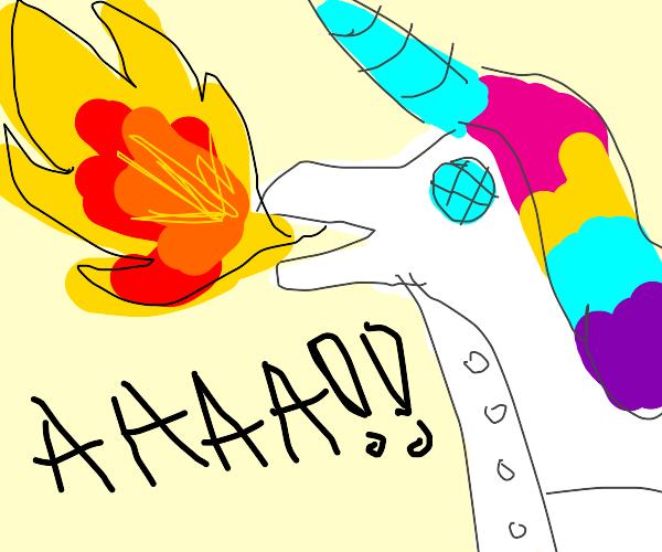 Robot unicorn breathes fire, AAAA!