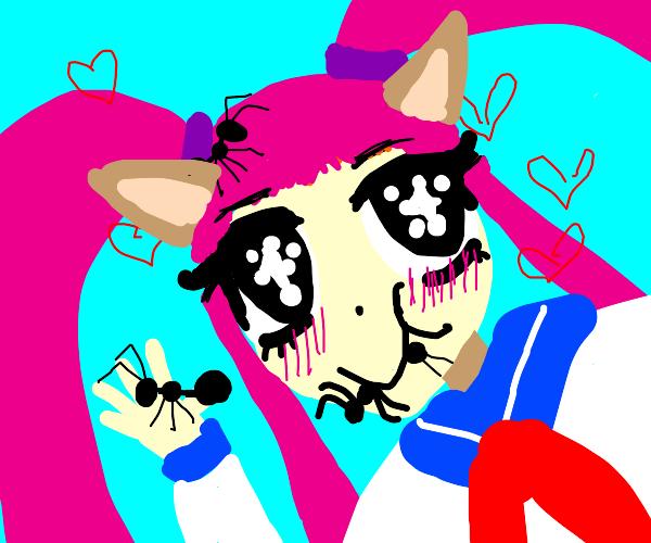 cursed anime girl eating ants