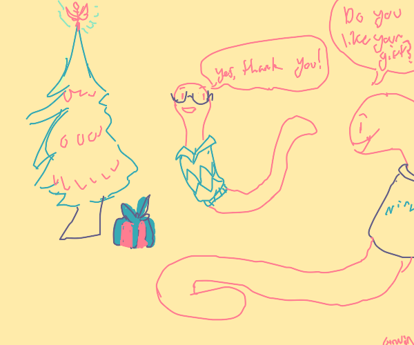 earthworm with a shirt celebrating christmas