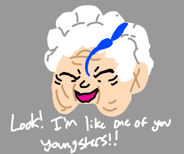 old lady with dark blue curl in her hair