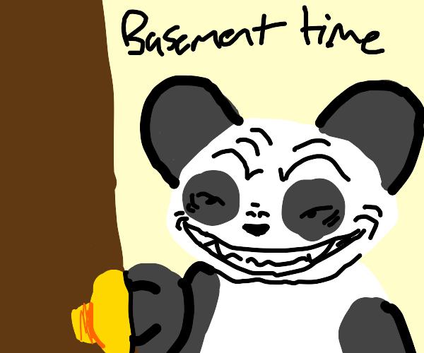 Creepy Panda opens the basement door
