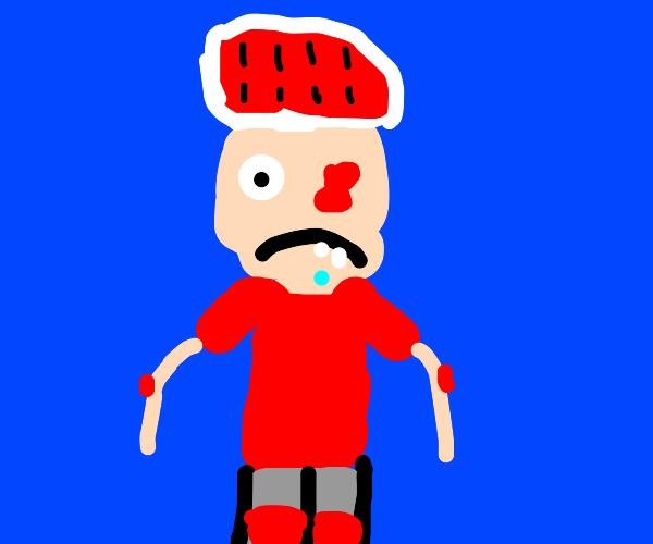 Autistic guy wearing bike gear and loses eye