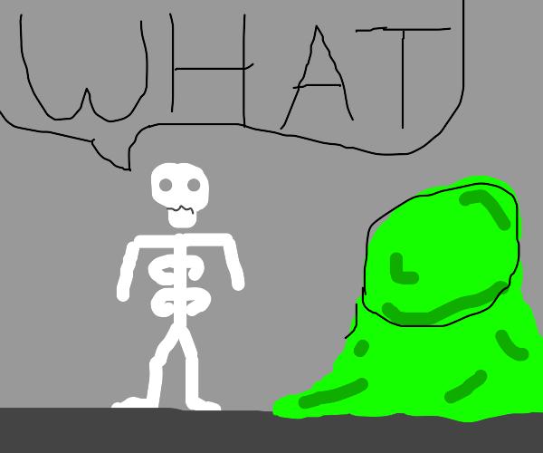 skeleton next to big booger