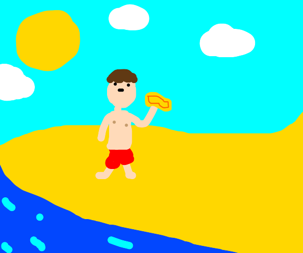 kid is on the beach with a ticket
