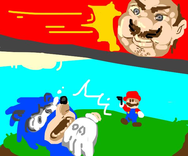 Mario kills Sonic w/ a gun