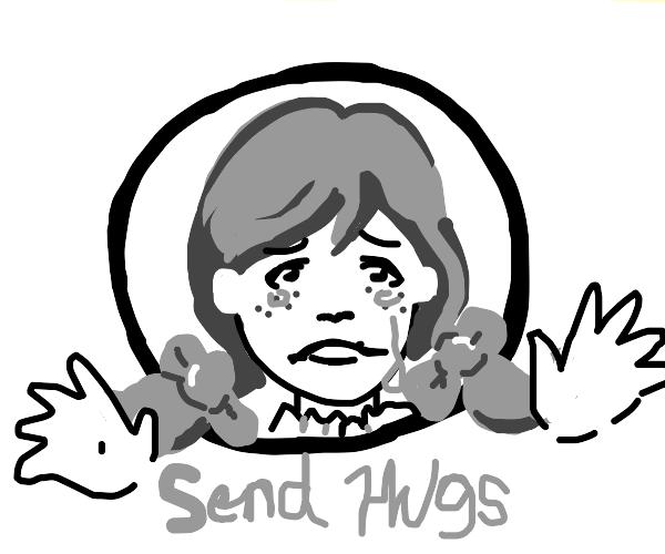 Girl from the Wendy's logo is sad & wants hug