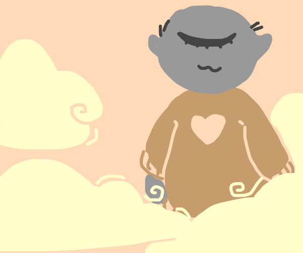 giant in a sweater in the soft clouds