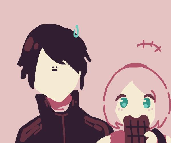 sakura eating sasuke's chocolate bar