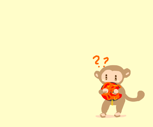 Monkey holding a big shiny lava ball
