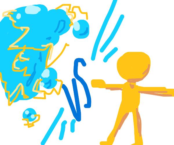 Electric water vs stickman