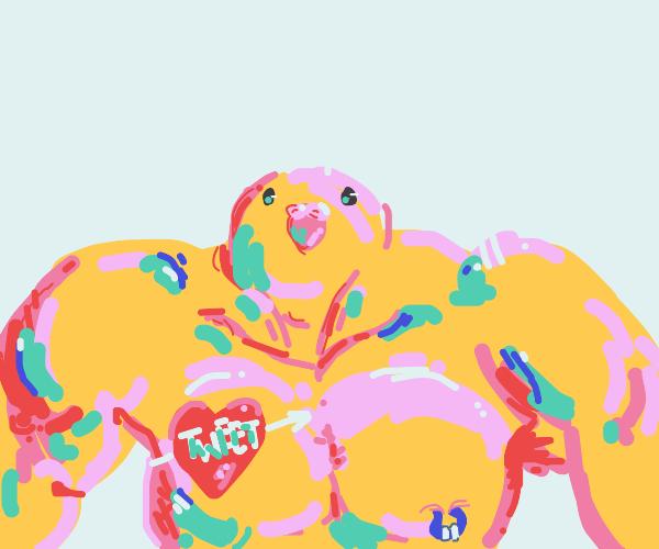 muscular humanoid with bird head