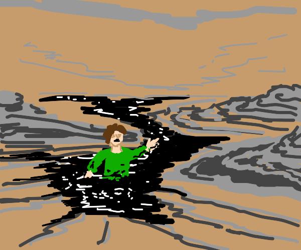 Guy stuck in tar pit