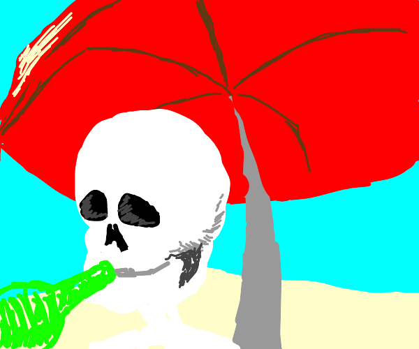 Skull Man holds a beer on ice