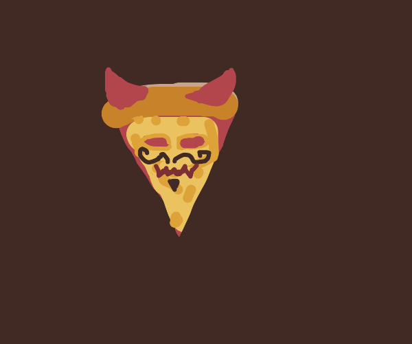 Demonic pizza slice who doesn't have pupils