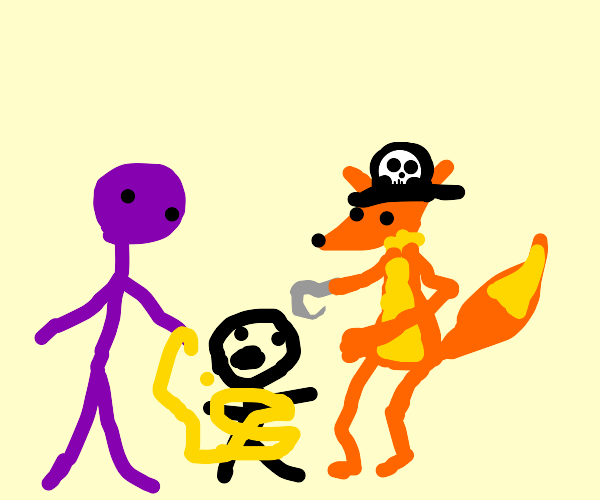 piratefox and a purpleguy kidnap a little boy
