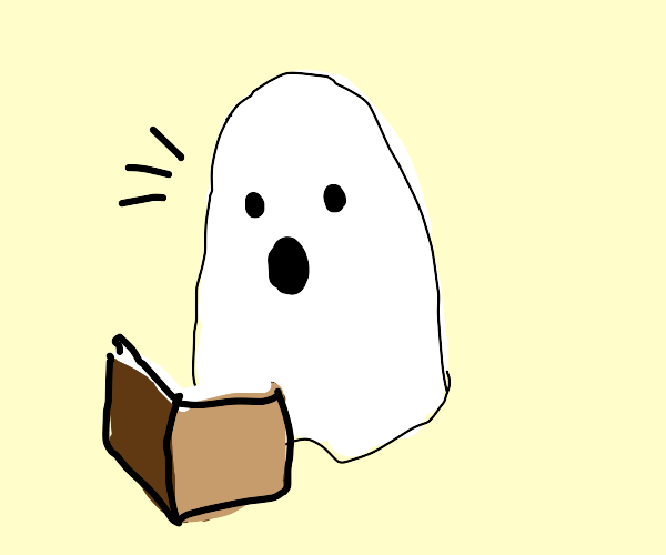 Ghost is amazed by the book he is reading