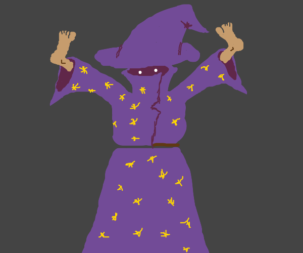 Wizard with feet for hands