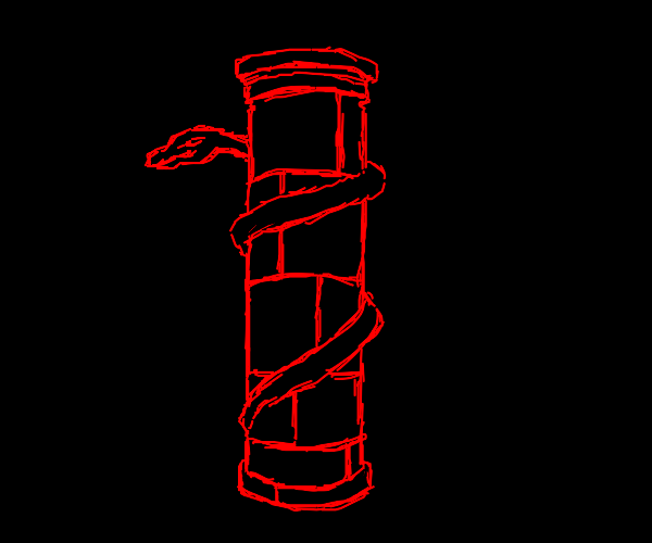 Snake coiled around a Roman pillar