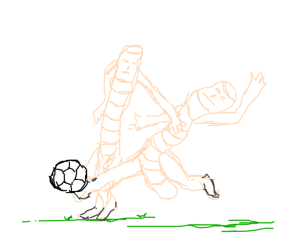 worms playing soccer