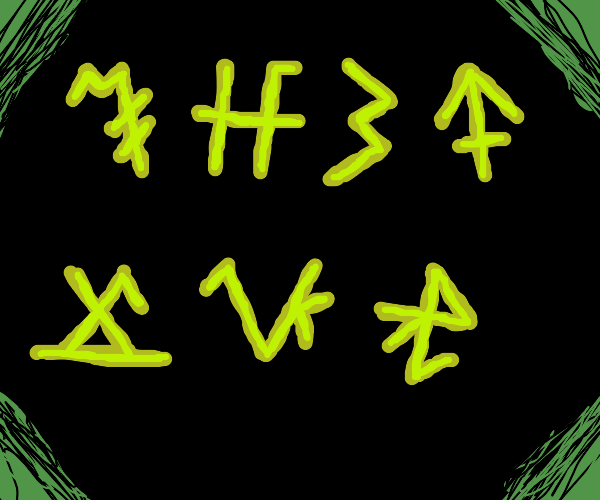 Some gibberish green letters in dark