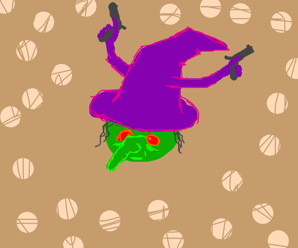 green witch with purple hat with two guns