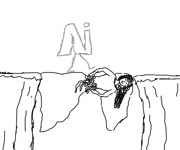 Ai walking on a bride over a cliff