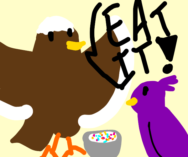 Eagle force feeds purple bird cereal